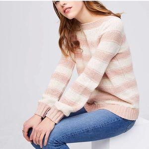Loft boat neck blush striped sweater